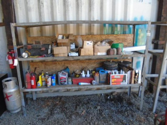 METAL STORAGE SHELF W/CONTENTS - INCLUDING MISC TOOLS, NUTS, BOLTS, HARDWARE, GREASE, & MORE