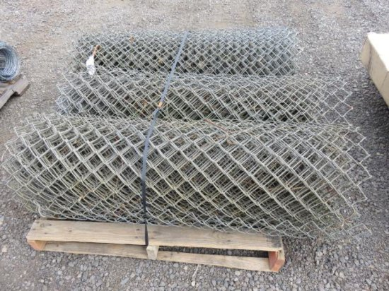 PALLET W/(3) ROLLS OF 4' CHAINLINK FENCE