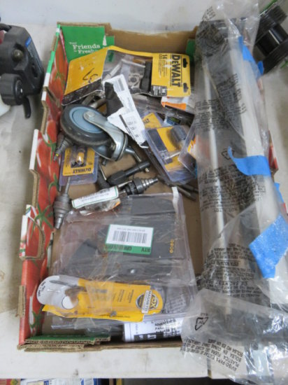 BOX OF ASSORTED DEWALT TAP AND DIE PARTS