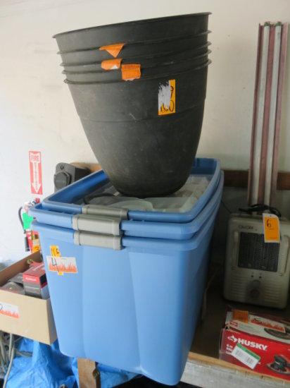 ASSORTED PLASTIC TOTES (NO LIDS) AND PLANT POTS
