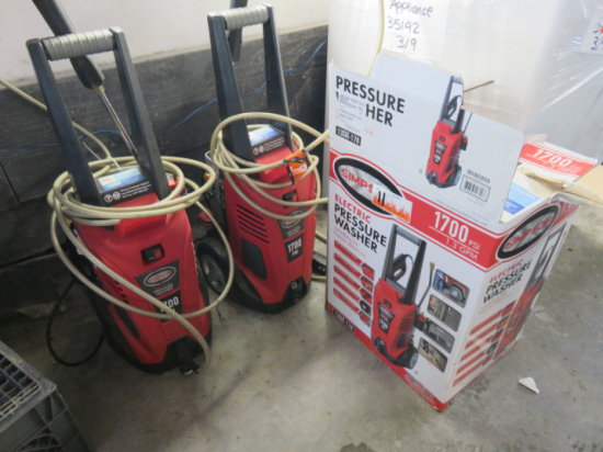 Lot of 3 Simpson electric 1700 psi pressure washers