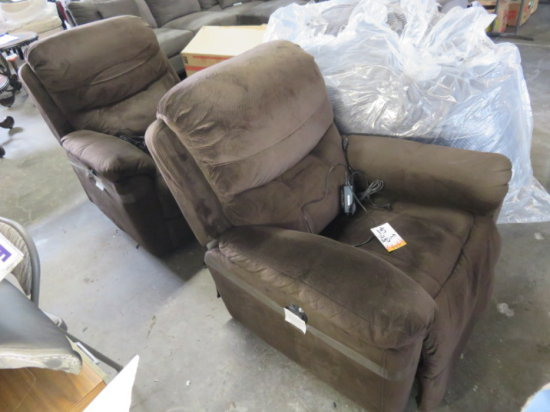 Lot of 2 brown power recliners (returned bad spring)