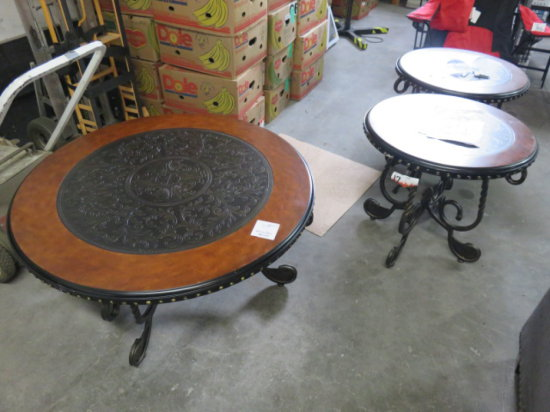 Lot of two end tables and coffee table, Steel frames inlaid tops, (scratche
