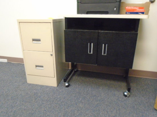 2-DRAWER FILE CABINET, PRINTER STAND ON CASTERS