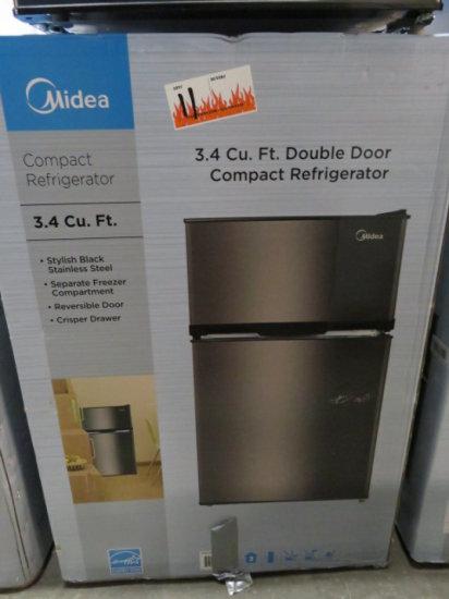 MIDEA WHD125FBS1 2 DOOR MINI FRIDGE 3.4 CF STAINLESS