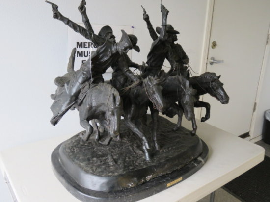 FREDERIC REMINGTON ''COMING THRU THE RYE'' BRONZE STATUE ON A MARBLE BASE