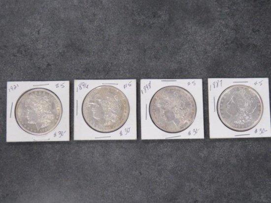 (4) MORGAN SILVER DOLLARS, 1887, 1896, 1898, 1921