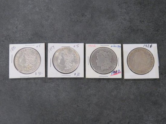(4) MORGAN SILVER DOLLARS, 1881, 1887, 1902, 1921
