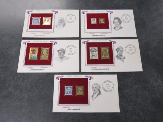 (5) GREAT AMERICAN STAMPS W/ 22KT GOLD REPLICAS