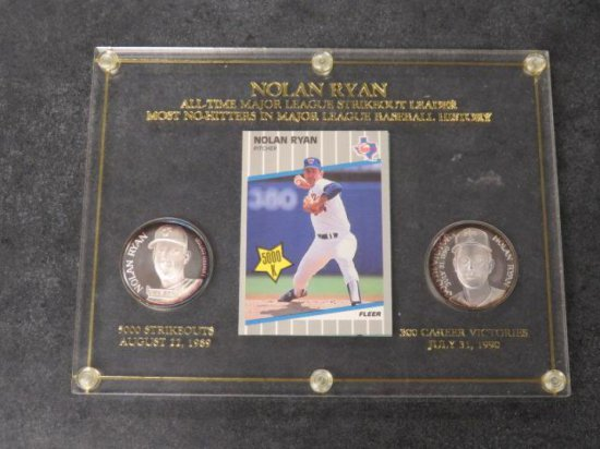 NOLAN RYAN COMMEMORATIVE PLAQUE W/ (2) 1OZ SILVER COINS & (2) CARDS
