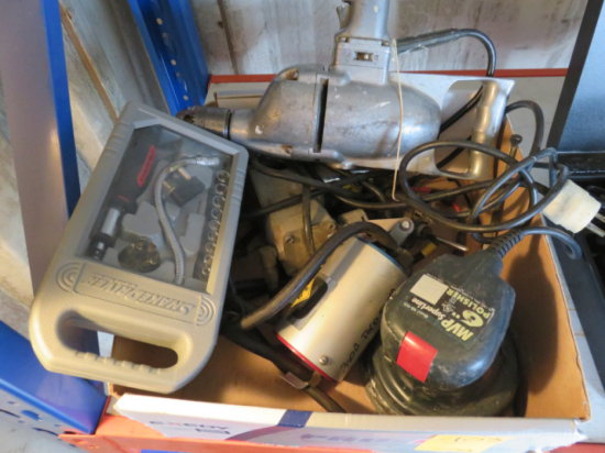 BOX W/ DRILL, POLISHER & OTHER ASSORTED TOOLS & AUTOMOTIVE PARTS
