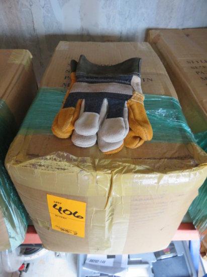 (1) BOX OF (5) DOZEN CANVAS/LEATHER WORK GLOVES