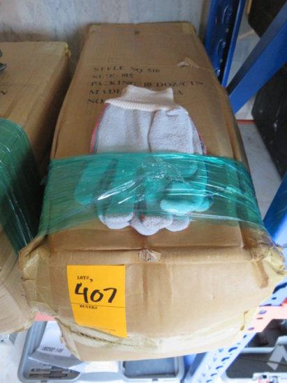 (1) BOX OF (10) DOZEN CANVAS/LEATHER WORK GLOVES