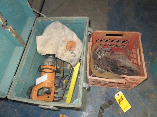 BOX W/ELECTRIC DRILL & BITS