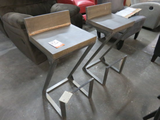 LOT OF 2 CONTEMPORARY METAL AND WOOD BAR STOOLS
