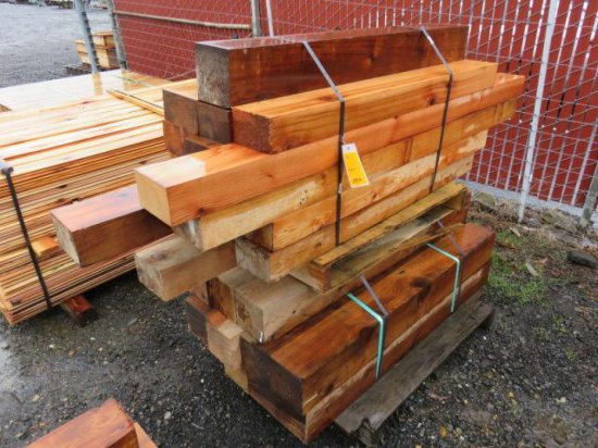 PALLET W/ ASSORTED SIZE AND LENGTH OF CEDAR BEAMS