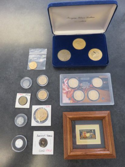 BOX W/ASSORTED CURRENCY, COLLECTOR COINS, & POSTAGE STAMP