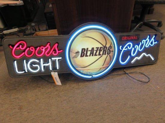 COORS LIGHT / COORS ORIGINAL PORTLAND TRAIL BLAZERS NEON BAR SIGN