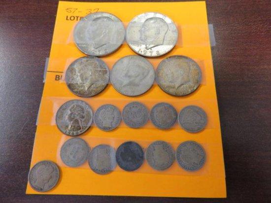 1972 & 78 US SILVER DOLLARS, 1966 &2-1967 HALF DOLLARS, 1960 QUARTER, 10 MERCURY DIMES