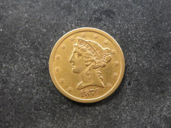 1879-S-FIVE D GOLD LIBERTY HEAD, 5 DOLLAR COIN, MINT, SAN FRANCISCO