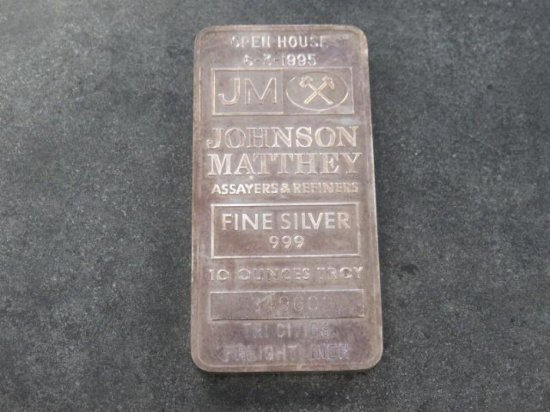 10 TROY OZ FINE SILVER .999 #349602 SILVER BARS, JOHNSON MATTHEY ASSAYERS & REFINERS OPEN HOUSE