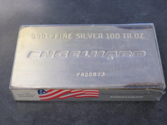 100 TROY OUNCES 999+ FINE SILVER BAR, #P820573, ENGELHARD 1 X 100