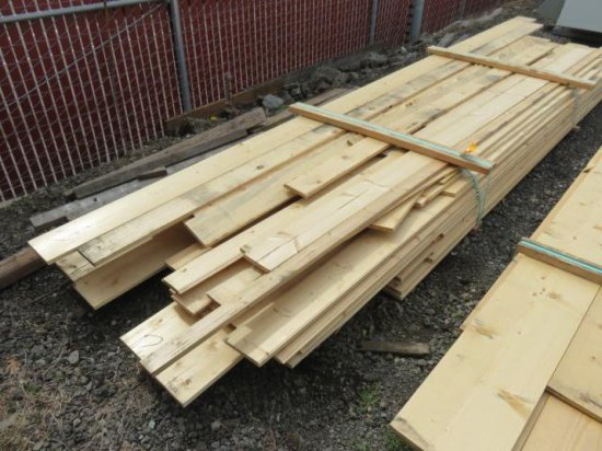 LOT OF ASSORTED SIZE & LENGTH PINE BOARDS (SOME TONGUE & GROOVE)