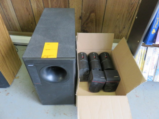 (5) BOISE HIGH DEFINITION SURROUND SOUND SPEAKERS & BOSE AUDIO ACOUSTIMASS SUBWOOFER