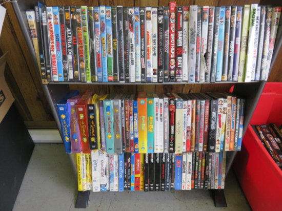DVD RACK W/ (APPROX. 100) DVD MOVIES & TV SERIES