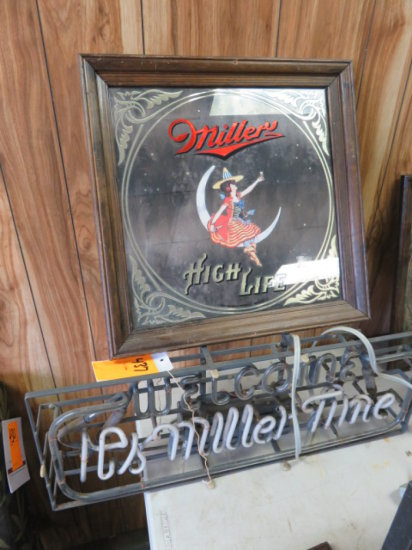 'WELCOME ITS MILLER TIME' NEON BAR SIGN & MILLER HIGH LIFE FRAMED MIRROR