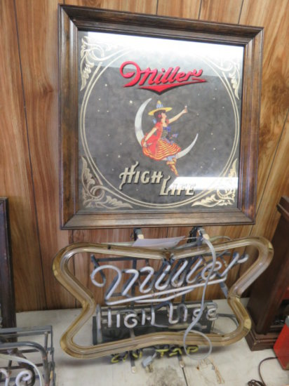 MILLER HIGH LIFE ON TAP NEAN BAR SIGN (WORDS 'ON TAP' DAMAGED) & MILLER HIGH LIFE FRAMED MIRROR