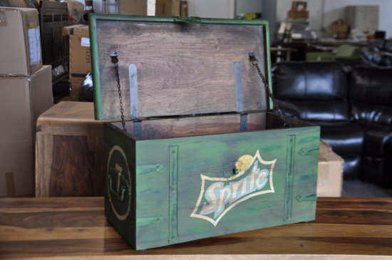WOODEN AMMO BOX WITH SPRITE SODA DESIGN