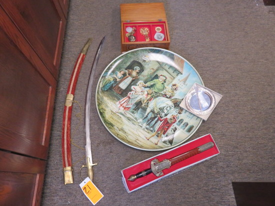 (2)SWORDS, WOOD JEWELRY BOX & METAL PAINTED SIGN