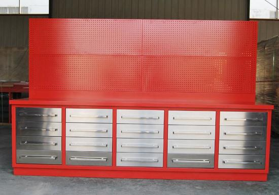 10' 20 DRAWER HEAVY DUTY METAL WORK BENCH W/40'' TALL HANGING PEG BOARD