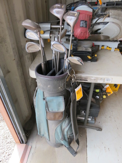 (1) GOLD EAGLE GOLF BAG W/(3) TOUR SELECT DRIVERS AND (3) NORTHWESTERN IRON