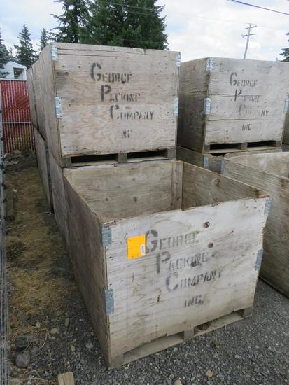 (9) WOOD STORAGE CRATES (4' X 4' X 42'')