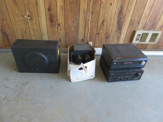 (1) YAHAMA, (1) INTEGRA RECEIVERS, 10'' ROCKFORD FOSGATE SUB, BOX OF COMPUTER SPEAKERS & SUBS
