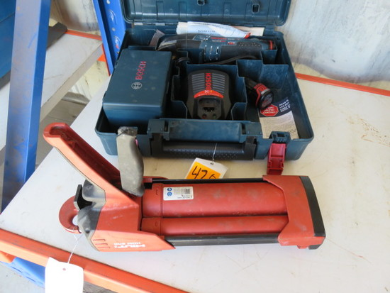 BOSCH PS50 CORDLESS OSCILLATING SANDER W/ CASE & CHARGER, HILTI EPOXY GUN