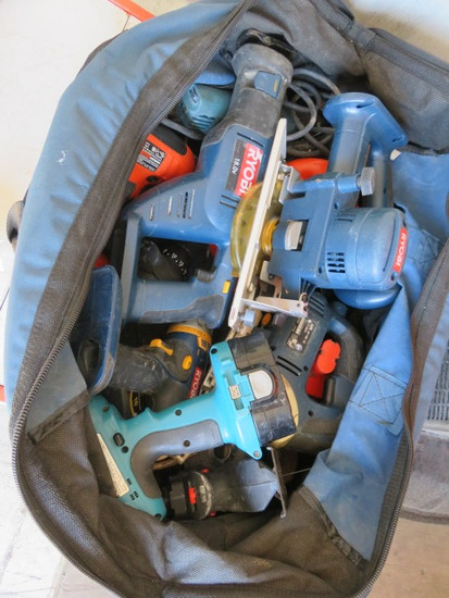 ASSORTED POWER TOOLS, CORDED & CORDLESS, DRILLS, SAWS & NO CHARGERS