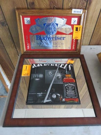 (1) BUDWEISER 18'' X 12'' FRAMED BOTTLE MIRROR & (1) JACK DANIEL 19'' X 19'' FRAMED BOTTLE MIRROR