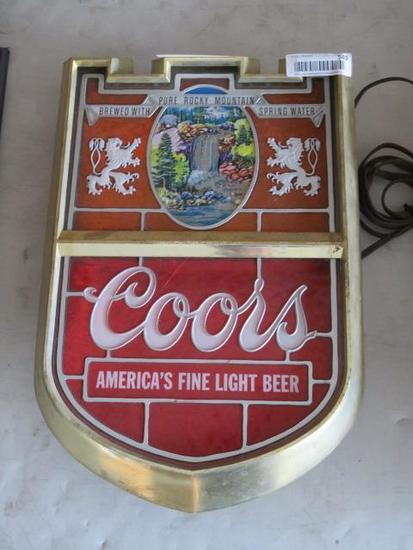 COORS CREST ELECTRIC BEER SIGN