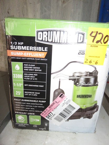 DRUMMOND 1/3 H.P. SUBMERSIBLE SUMP-EFFLUENT W/VERTICLE FLOAT SWITCH