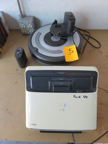 NEAT BUSINESS ORGANIZER SCANNER AND ROOMBA VACUUM