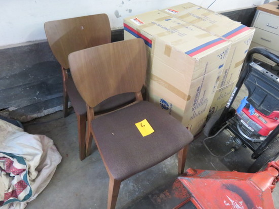 (4) WOOD BACKED PADDED SEAT CHAIRS BROWN