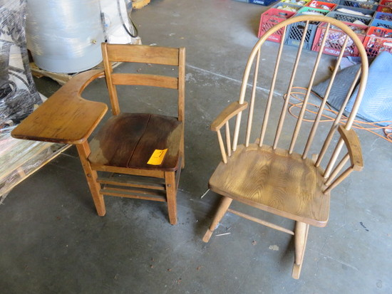 ROCKING CHAIR AND STUDENTS WOOD DESK