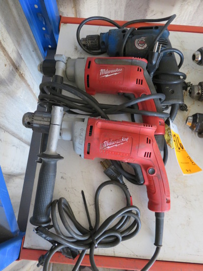 (2) MILWAUKEE 120V DRILLS & (1) BLACK & DECKER 120V DRILL