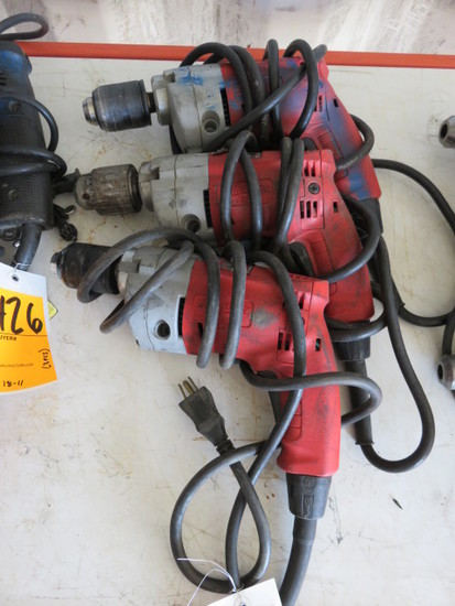 (3) MILWAUKEE 120V DRILLS