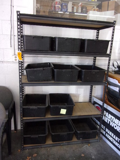 SHELVING W/PLASTIC PARTS BINS