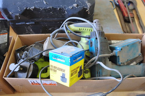 BOX ASSORTED CORDLESS TOOLS, BATTERIES AND CHARGERS