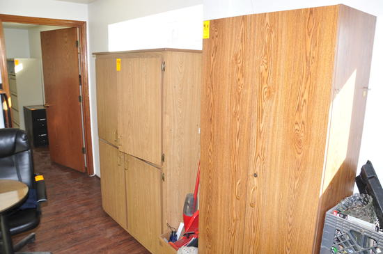 (3) WOOD CABINETS W/OFFICE SUPPLIES AND CONTENTS